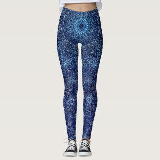 Dark Blue Patterns Leggings