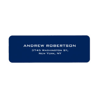 Dark Blue Plain Elegant Contemporary Unique Return Address Label