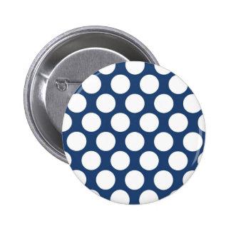 Dark Blue Polkadot Pinback Button