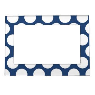 Dark Blue Polkadot Frame Magnet