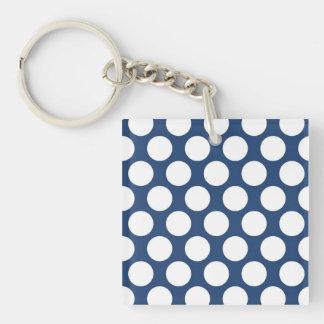 Dark Blue Polkadot Single-Sided Square Acrylic Key Ring