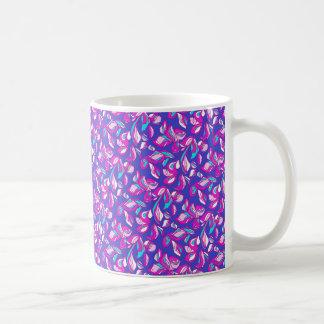 Dark Blue Purple Floral Mug