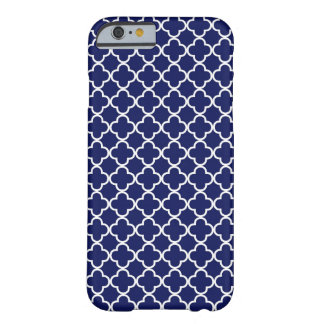 Dark Blue Quatrefoil Pattern Barely There iPhone 6 Case