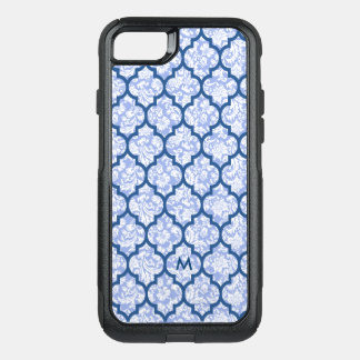 Dark Blue Quatrefoil Pattern Powder Blue Damasks OtterBox Commuter iPhone 8/7 Case