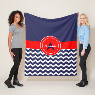 Dark Blue Red Chevron Fleece Blanket