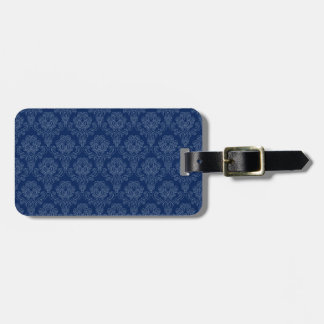 Dark Blue Retro Floral Luggage Tag