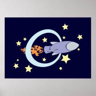Dark Blue Rocket Kids Retro Space Poster