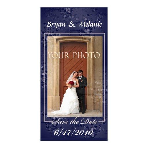 Dark blue  Save the Date Wedding Photo card