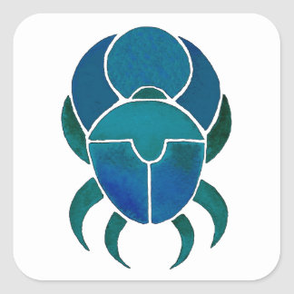 Dark blue scarab square sticker