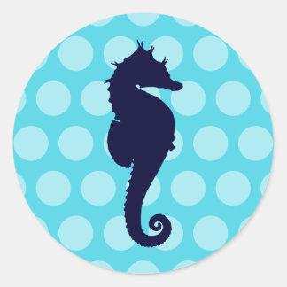 Dark Blue Seahorse Aqua Blue Polka Dots Round Sticker