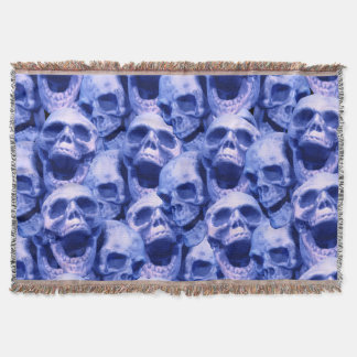 Dark Blue Skulls Throw Blanket