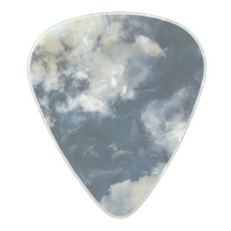 Dark blue sky and beautiful clouds pearl celluloid guitar pick