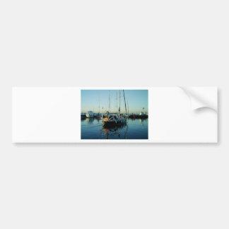 Dark Blue Sloop Leaving Harbor Bumper Sticker