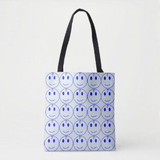 Dark Blue Smiley Face Tote Bag