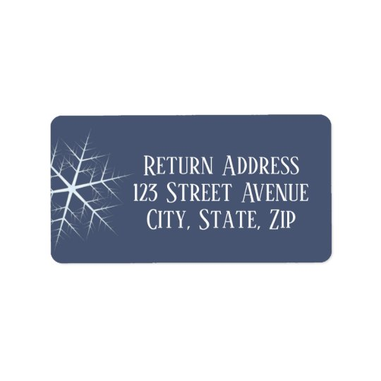 dark blue snowflake Holiday Mailing Label