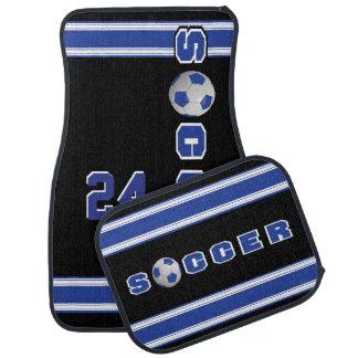 Dark Blue Soccer Ball Floor Mat