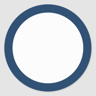 Dark blue solid color border blank classic round sticker