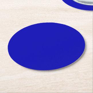 Dark Blue Solid Colour Round Paper Coaster