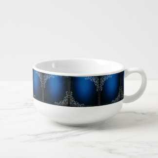 Dark Blue Squares And White Floral Decoration Soup Mug