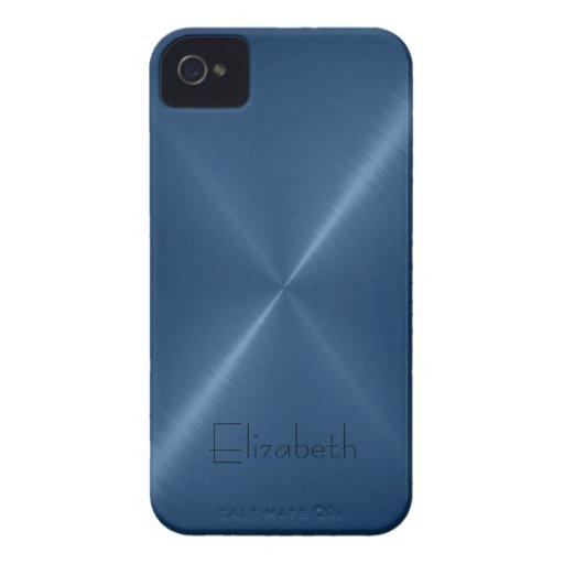 Dark Blue Stainless Steel Metal Look iPhone 4 Case-Mate Cases