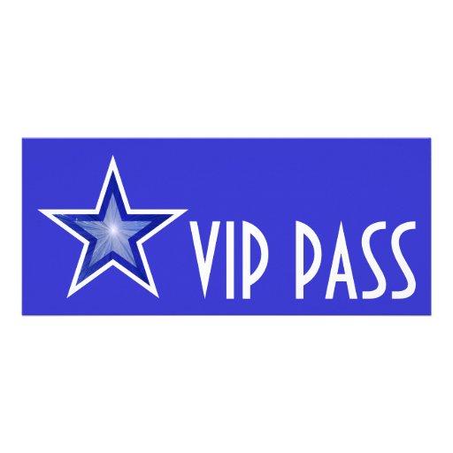 Dark Blue Star 'VIP PASS' invitation blue long