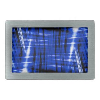 Dark blue streaks pattern rectangular belt buckles
