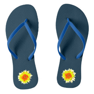 Dark Blue Sunflower on Thongs