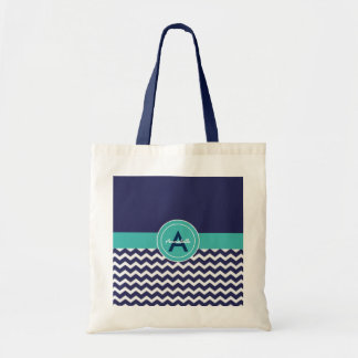 Dark Blue Teal Chevron Tote Bag