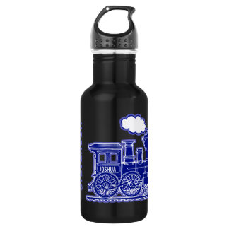 Dark blue train kids boys full name drinks bottle