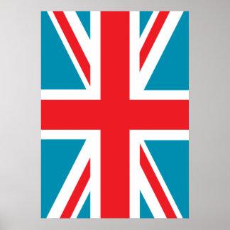 Dark Blue Union Jack British UK Flag Poster