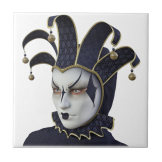 Dark Blue Venetian Carnivale Mask in Profile Tile