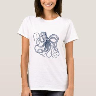 Dark Blue Vintage Octopus Illustration T-Shirt