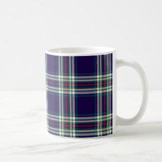 Dark Blue Vintage Plaid Basic White Mug