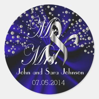 Dark Blue Wedding for the Mr & Mrs | Personalize Round Sticker