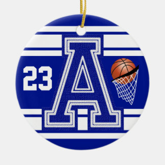 Dark Blue & White Basketball All Varsity Letters Ceramic Ornament