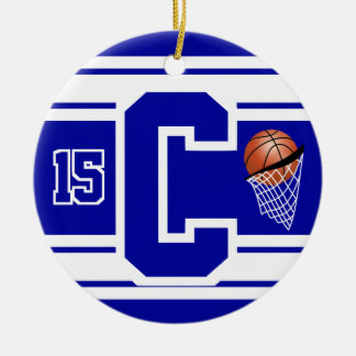 Dark Blue & White Basketball Letter C Ceramic Ornament