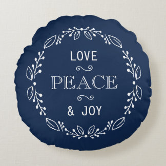 Dark Blue White Floral Holiday Peace Typography Round Cushion