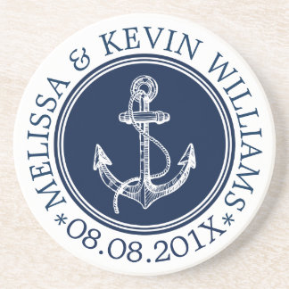 Dark Blue & White Nautical Boat Anchor Coaster