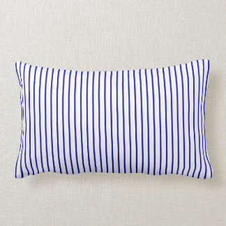 Dark Blue White Pinstripe Lumbar Cushion