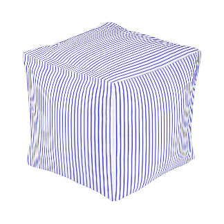 Dark Blue White Pinstripe Pouf