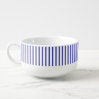Dark Blue White Pinstripe Soup Mug
