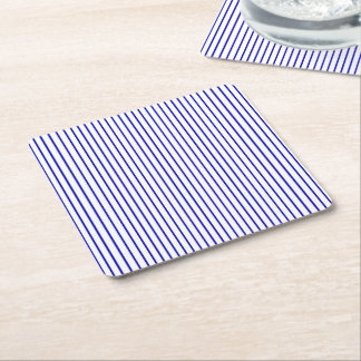 Dark Blue White Pinstripe Square Paper Coaster