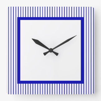 Dark Blue White Pinstripe Wallclocks