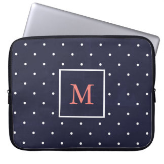 Dark Blue | White Polka Dots | Coral Monogram Computer Sleeves