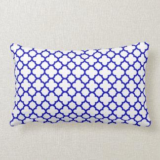 Dark Blue White Quatrefoil Lumbar Pillow