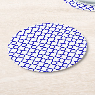 Dark Blue White Quatrefoil Round Paper Coaster