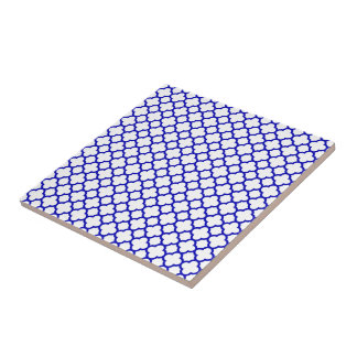 Dark Blue White Quatrefoil Small Square Tile