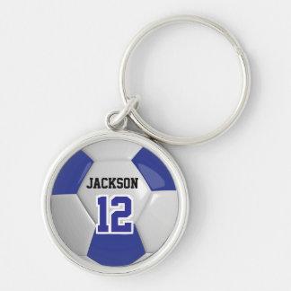 Dark Blue & White Team Soccer Ball Key Ring
