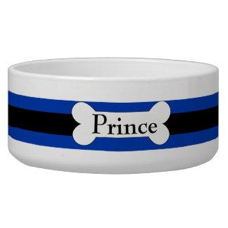 Dark Blue With Black Stripe And Bone Dog Bowl
