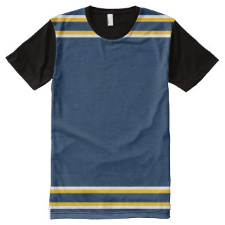 Dark Blue with White and Gold Trim All-Over Print T-Shirt